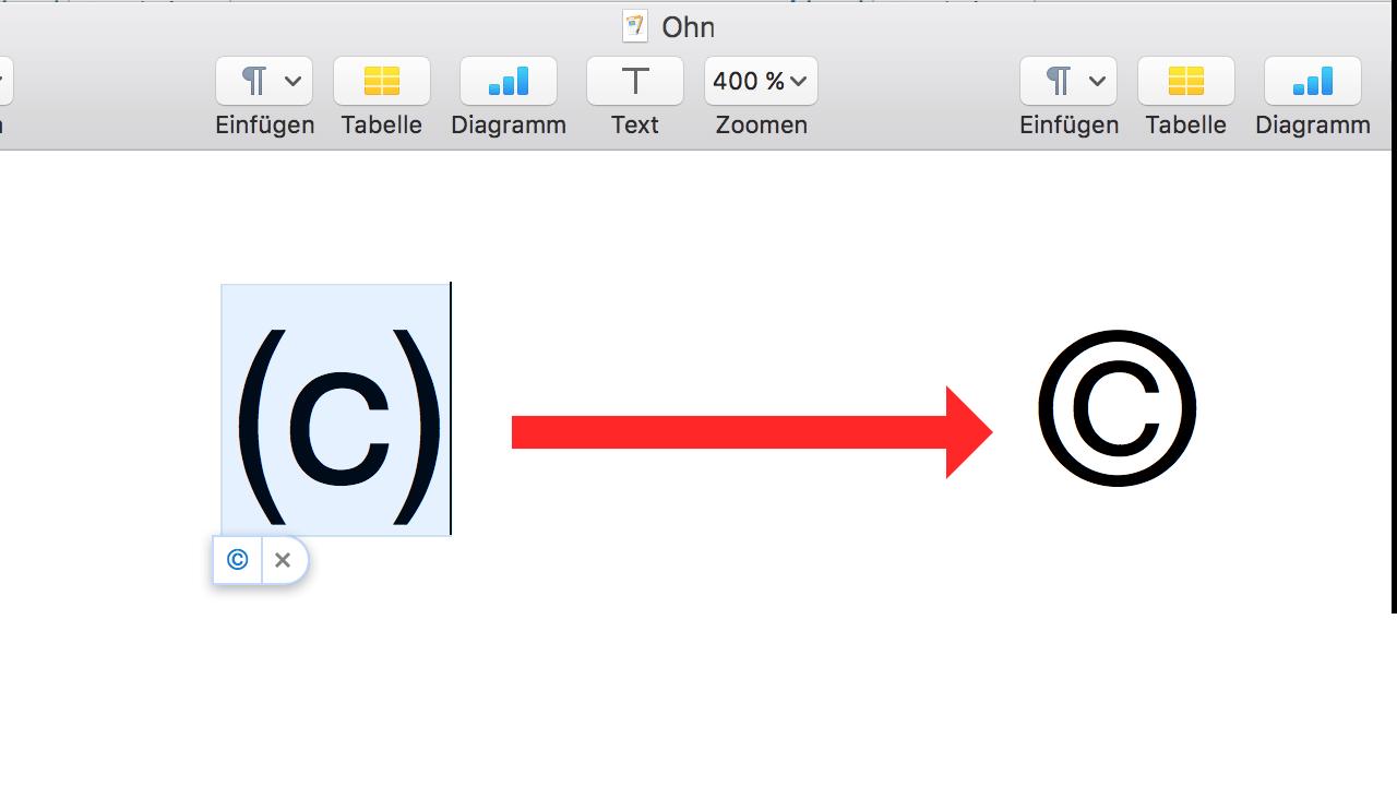 Copyright-Zeichen Mac