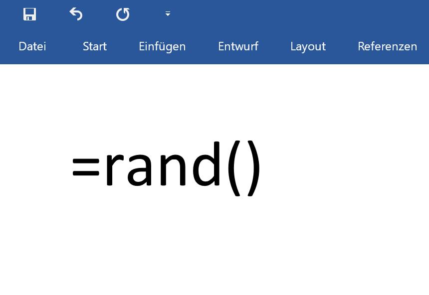 Mit rand() in Word Blindtext erzeugen
