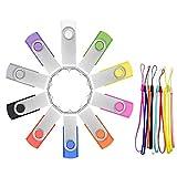 FEBNISCTE 10 Stück USB Stick 8GB USB 2.0 Flash Laufwerke Speichersticks Einklappbarer Mehrfarbige