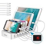 allcaca USB Ladestation 6-Port Dockingstation für Smartphone Tablet Android IOS Power Bank, 6 Kabel...