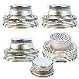 heliltd 4er Pack Edelstahl Einmachglas Shaker Deckelkappen für Normalmaul Mason, Einmachgläser,...