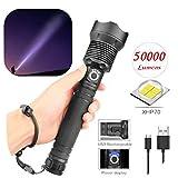 Nearthde 200000LM XHP70 LED-Taschenlampe - Super helle teleskopische Zoom wasserdichte Camping...