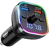 FM Transmitter Auto Bluetooth, OMORC QC3.0 Radio Adapter mit 7 Farbe LED Backlit, Dual USB...
