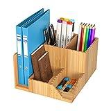 Homfa Bambus Schreibtisch Organizer 21,5x18,5x11,5cm Stiftehalter Stifteköcher Aufbewahrungsbox...