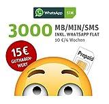 WhatsApp SIM Prepaid [SIM, Micro-SIM, Nano-SIM] - Starterpaket mit 15 EUR Guthabenwert, ohne...