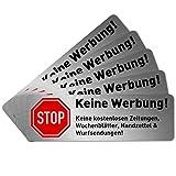 5 x Keine Werbung Aufkleber für Briefkasten (6,7 x 2,1 cm klein) - Keine kostenlosen Zeitungen und...
