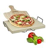 Relaxdays Pizzastein Set 3 cm Stärke mit Metallhalter und Pizzaschieber aus Holz HBT: 38x 30x 3cm...