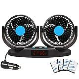 EXCOUP Auto Ventilator 12V Kfz Ventilator Mini Klimaanlage mit 12 Geschwindigkeiten, 5 Zoll...