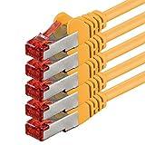 1aTTack.de Netzwerkkabel Cat 6 (0,5m - gelb - 5 Stück) Ethernetkabel Cat Kabel Lankabel Cat6 (SFTP...