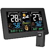 Kalawen Wetterstation mit Außensensor Innen und Außen 9-IN-1 Funkwetterstation mit Farbdisplay...