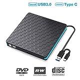 DVD Laufwerk extern, SAWAKE CD Laufwerk USB 3.0& USB C, CD Brenner, PC Player für Laptop, Desktop,...