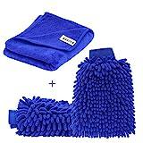 SYCEES 2 Stücke Wasserdicht Mikrofaser Autowaschhandschuh und 1 Stück Microfasertuch Set, weicher...