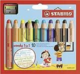 Buntstift, Wasserfarbe & Wachsmalkreide - STABILO woody 3 in 1 - 10er Pack mit Spitzer - mit 10...