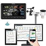 Sainlogic Profi WLAN Wetterstation - WiFi Internet Funk Wetterstation mit Außensensor, Regenmesser,...