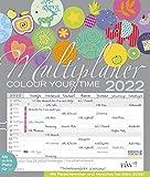 Multiplaner - Colour your time 2022: Familienplaner, 7 breite Spalten. Großer Familienkalender mit...