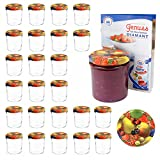 MamboCat 25er 350 ml Sturzglas-Set | Einmachgläser + Twist-Off-Deckel Obst gelbe Birne + GRATIS...
