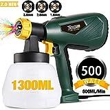 Farbsprühsystem, TECCPO 500W HVLP Farbspritzpistole 800ml/min, Elektrische Spritzpistole, 3...