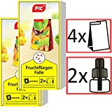 PIC - Fruchtfliegenfalle, Obstfliegenfalle und Essigfliegenfalle - 2 Lockstoffbehälter mit 4...