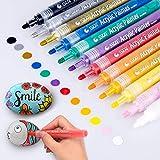 Acrylstifte Marker Stifte, Morfone Set mit 12 Farben Acrylfarben Marker auf Wasserfest für...