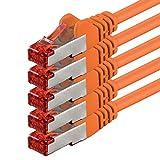 1aTTack.de Netzwerkkabel Cat 6 (0,5m - orange - 5 Stück) Ethernetkabel Cat Kabel Lankabel Cat6...