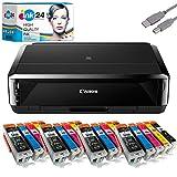 Canon PIXMA IP7250 Tintenstrahldrucker Fotodrucker + USB Kabel & 20 komp. ink24 Druckerpatronen...