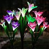 Solarleuchte Garten, JuguHoovi 3 Stück Solarleuchten für Außen, Garten Lampen Lilie Solarlichter...
