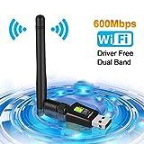 Aigital WiFi Adapter 600Mbits WLAN USB Stick Dual Band mit 5dBi Antenne(Keine CD Treiber) Drahtlos...