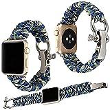 Qianyou Armband Kompatibel mit Apple Watch Series 3/2/1, 42mm Paracord Nylon Sport...