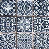 Mediterrane Patchwork Keramikfliesen Rahel Blau 33 x 33 cm 1 qm   Vintage Bodenfliesen Retro Fiese  ...