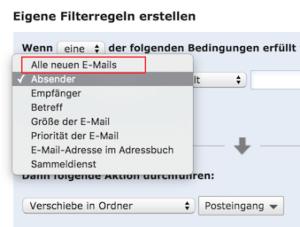 Auswahl Alle neuen E-Mails