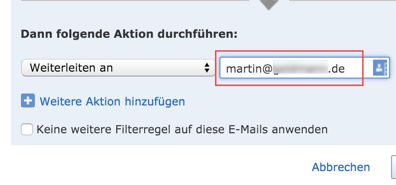 Eingetippte Mail-Adresse