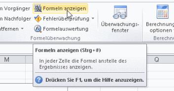 Excel: Alle Formeln anzeigen lassen, um berechnete Felder zu ...