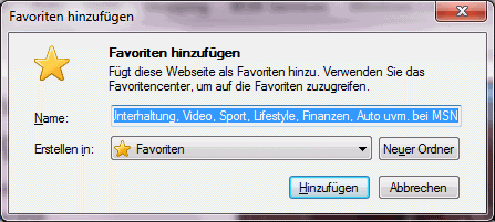 Favoriten-Eingabe beim Internet Explorer