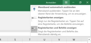 Vollbildmodus in Excel einschalten