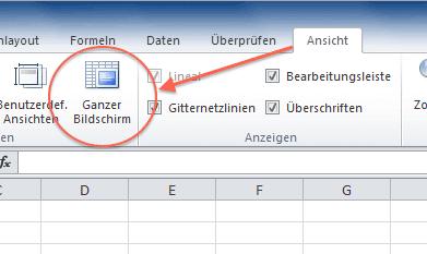 Schaltfläche für Vollbildmodus von Excel 2010