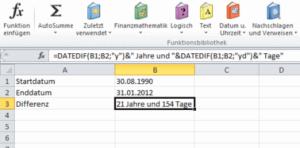 Excel Datumsdifferenz Spezial