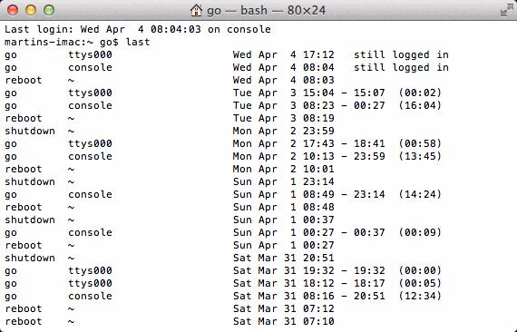 Eine Liste der zuletzt angemeldeten Nutzer auf einem Mac