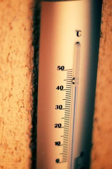 Thermometer mit 40 Grad - (Foto: Martin Goldmann)