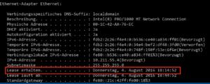 Neuanfang: In ipconfig erfahren Sie, wann Ihr Windows-Computer zuletzt einen DHCP-Lease erhalten hat.