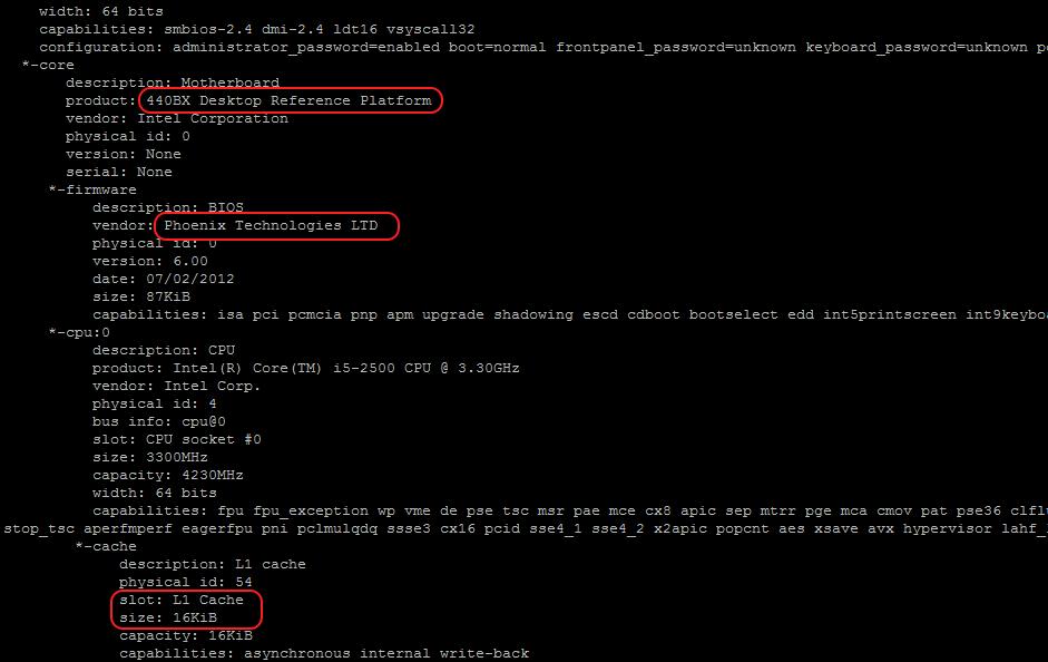 Ausgabe des Linux-Tools lshw