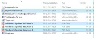 Mehrere Dateien sind markiert.