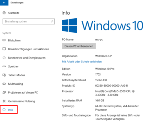 Systeminformationen in Windows 10