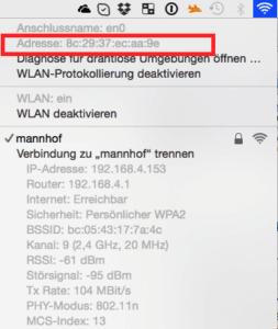 MAC-Adresse herausfinden für den WLAN-Adapter auf dem MAc