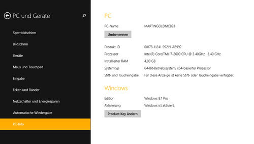 PC-Information unter Windows 8.1