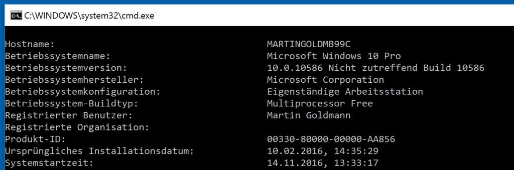 So sieht die Ausgabe von Systeminfo auf der Windows-Kommandozeile aus.