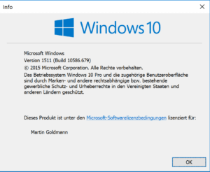 So sieht winver die Windows-Version 10