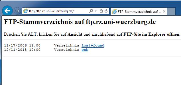 ftp mit dem Internet Explorer