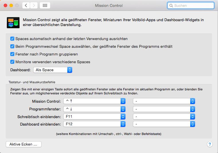 Taste zum Mac Desktop anzeigen ändern