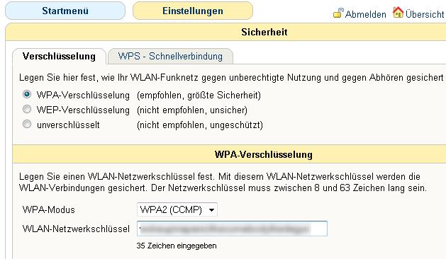 WPA-Verschlüsselung in Fritzbox einschalten