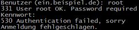 Kein FTP-Zugriff für root